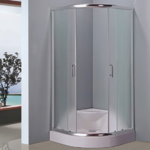 Sector Shaped Clear Tempered Glass Shower Enclosure-LX-1009