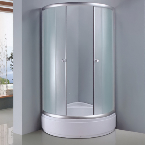 Sector Shaped Fabric Tempered Glass Shower Enclosure-LX-1011