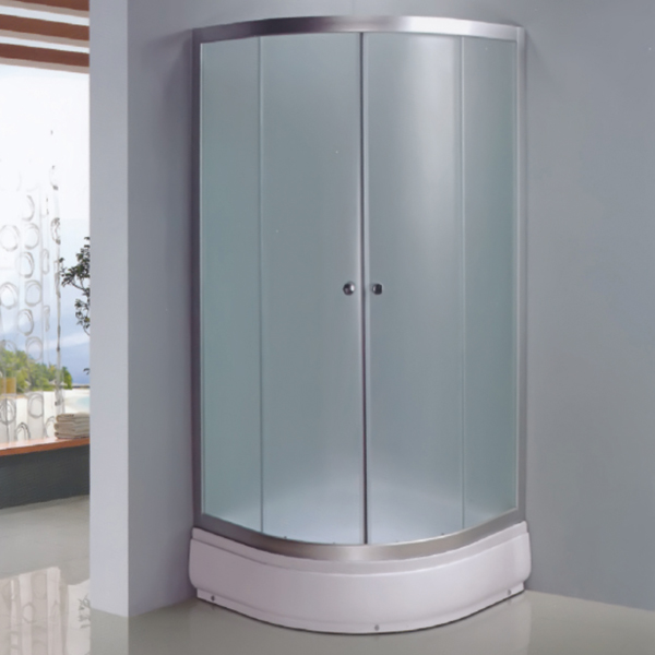 Sector Shaped Frosted Tempered Glass Shower Enclosure-LX-1012