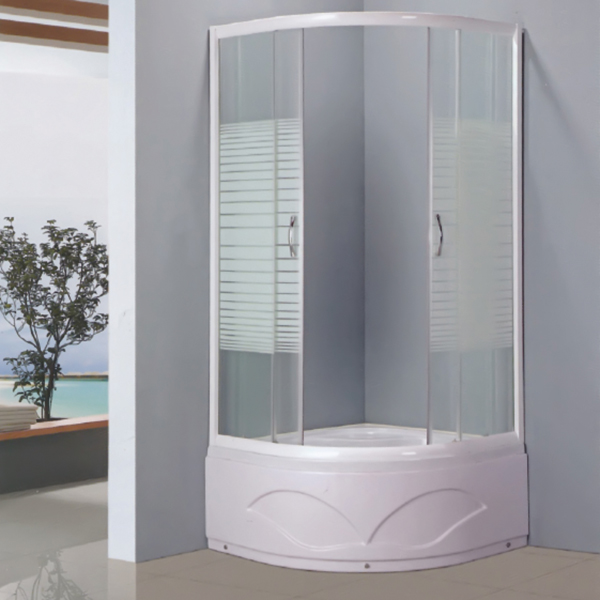 White Framed Pattern Glass Shower Enclosure-LX-1050