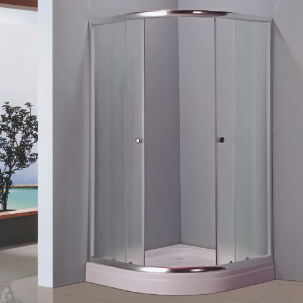 Sector Shaped Light Silver Framed Shower Enclosure-LX-1052