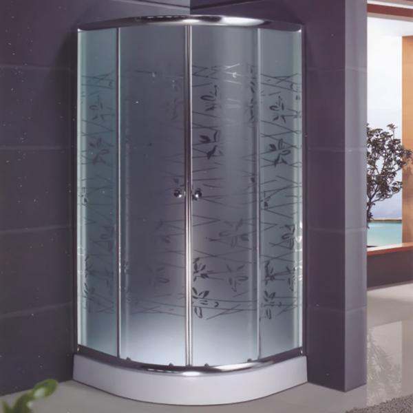 Polished Frame Pattern Glass Shower Enclosure-LX-1072