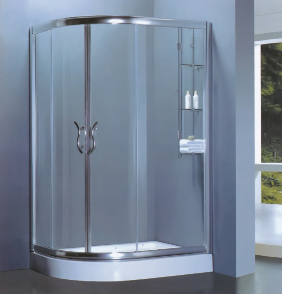 D Shaped Shower Enclosure With Towel Rack-LX-1108