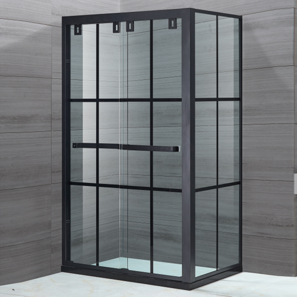 Black Framed Sliding Shower Enclosure-LX-1112