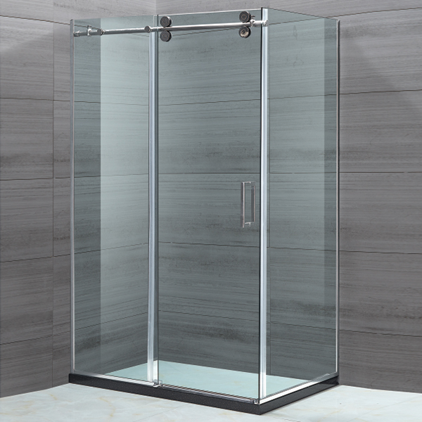 Light Silver Framed Sliding Shower Enclosure-LX-1121