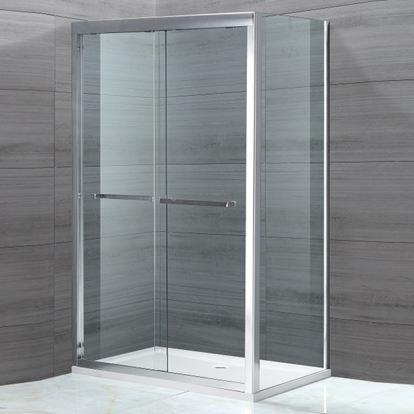 Rectangle Shaped Light Silver Framed Shower Enclosure-LX-1123
