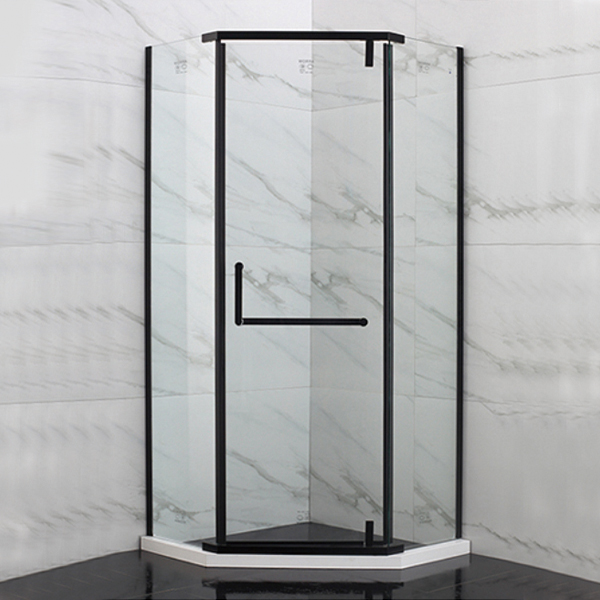 Black Framed Horizontal Handle Shower Enclosure-LX-1219