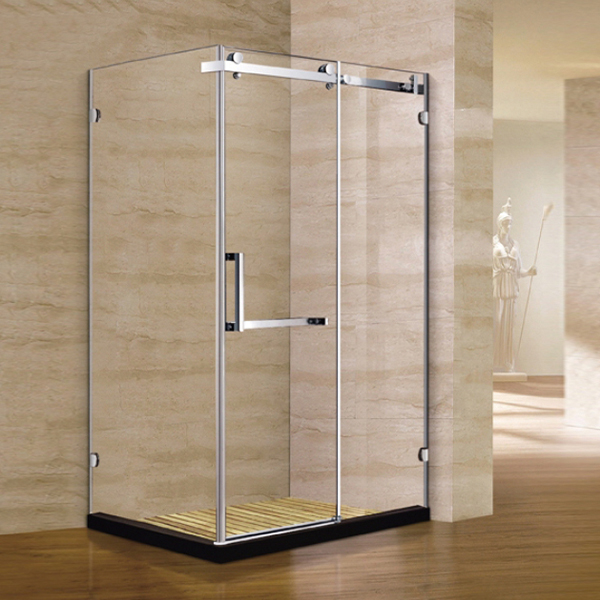 Corner Rectangle Shaped Light Silver Shower Enclosure-LX-1223