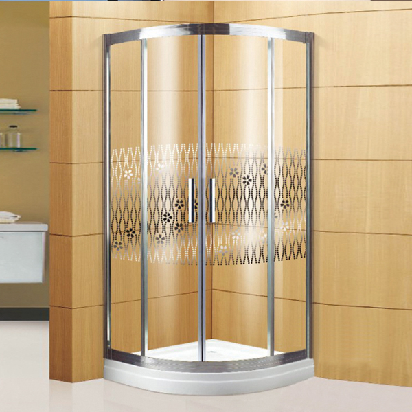 Pattern Glass Shower Enclosure With Shower Tray-LX-1313