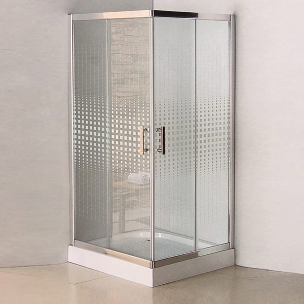 Square Shaped Pattern Glass Shower Enclosure-LX-1318