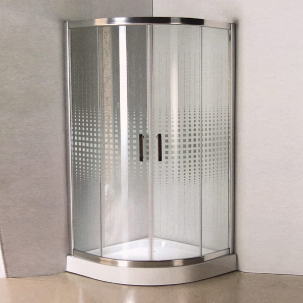 Sector Shaped Pattern Glass Shower Enclosure-LX-1320
