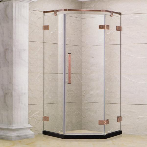 Golden Framed Diamond Shaped Shower Enclosure-LX-1331