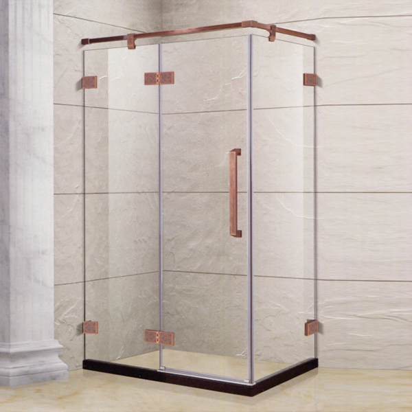 Golden Framed Hinge Shower Enclosure-LX-1333