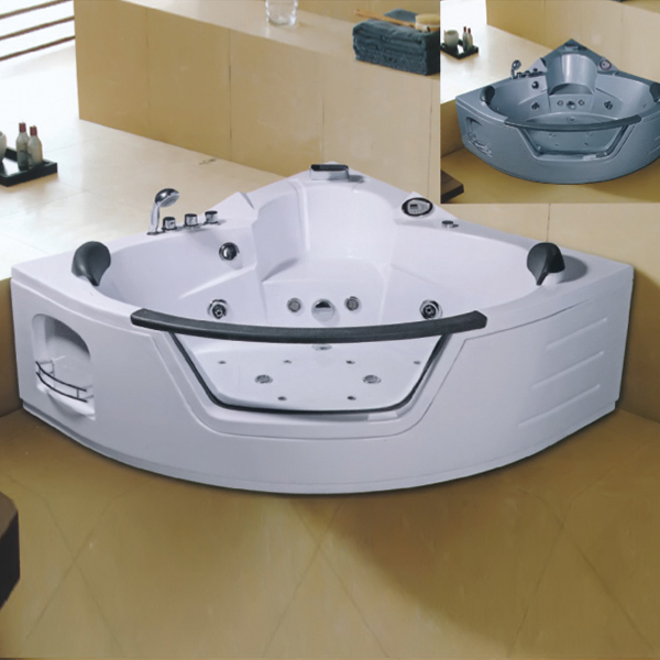 Sector Shaped Massage Bathtub With Tempered Glass-LX-231