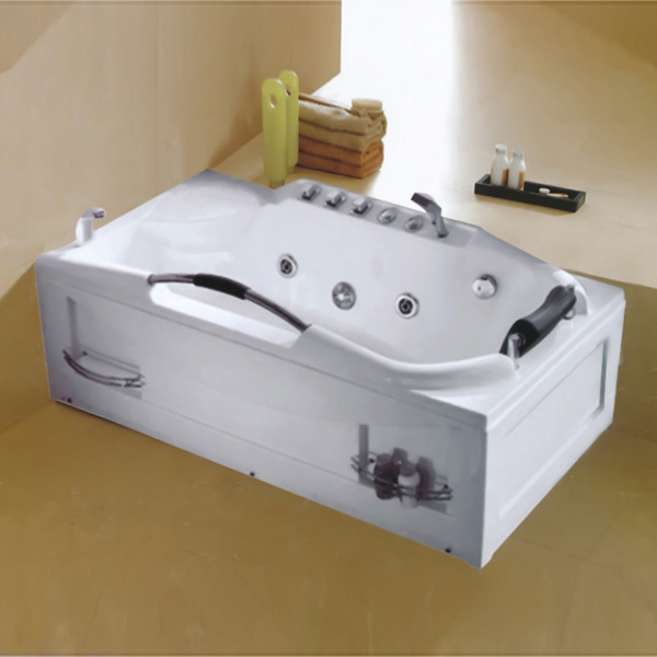 Dual-side Skirt White Massage Bathtub-LX-232