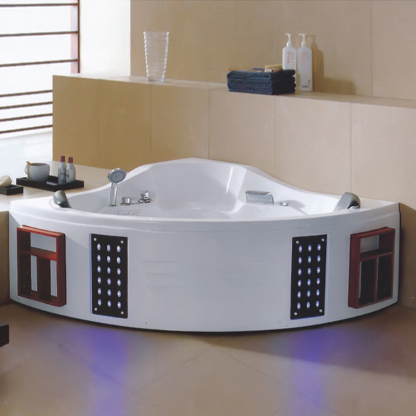 White Massage Bathtub With Led on skirt side-LX-241