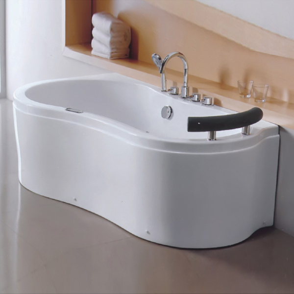 Single Skirt Curved White Massage Bathtub-LX-242