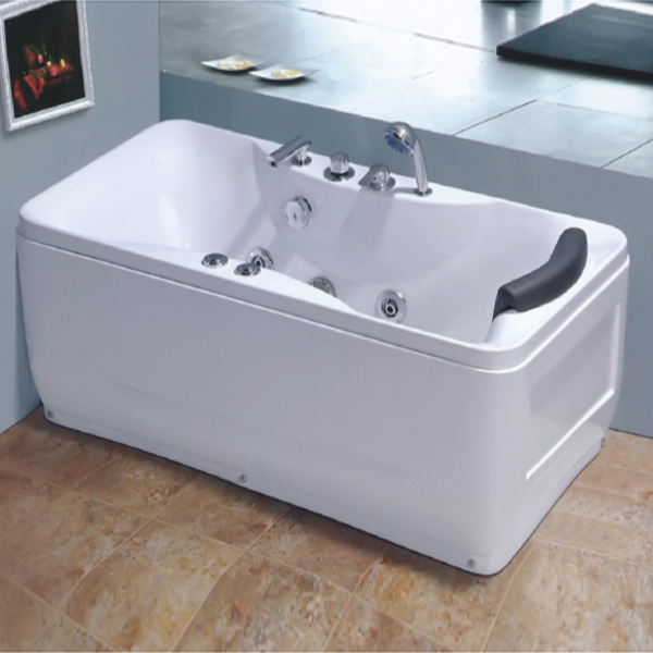 White Square Massage Bathtub With Curve Shaped-LX-252
