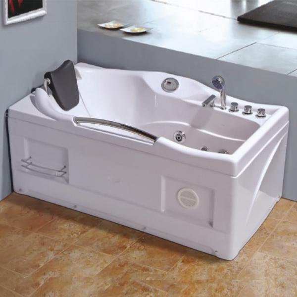 Corner Square White Massage Bathtub-LX-259