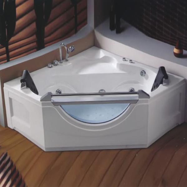 Diamond Shaped Massage Bathtub With Blue Glass-LX-268