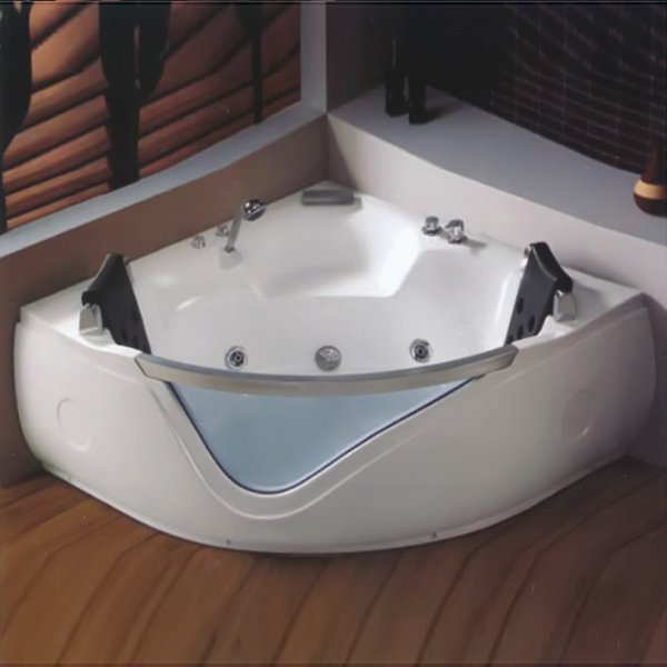 Acrylic Massage Bathtub With Blue Tempered Glass-LX-269