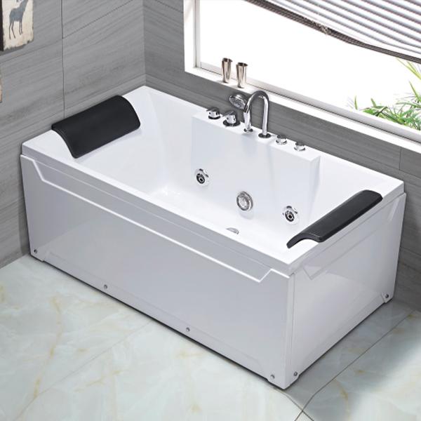 Double Pillow White ABS Massage Bathtub-LX-272