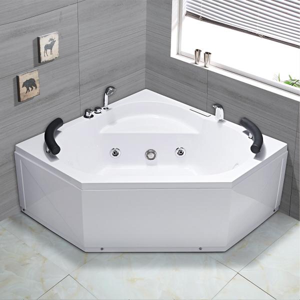 Diamond Shaped White Acrylic Massage Bathtub-LX-275