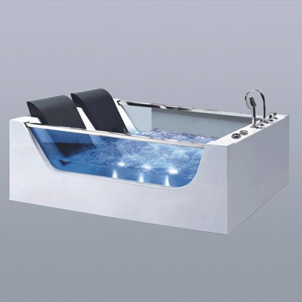 Big Back Cushion Massage Bathtub With Glass-LX-278
