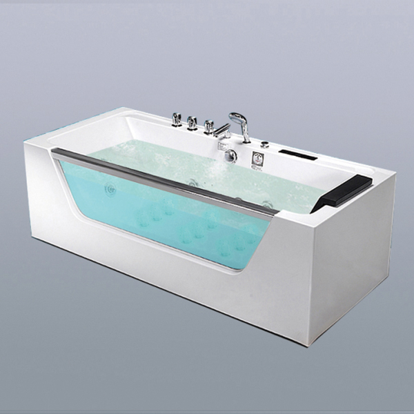 Acrylic Massage Bathtub With Stainless Steel Armrest-LX-285