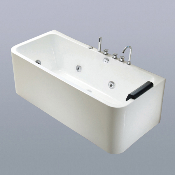 Rectangle White Massage Bathtub-LX-288