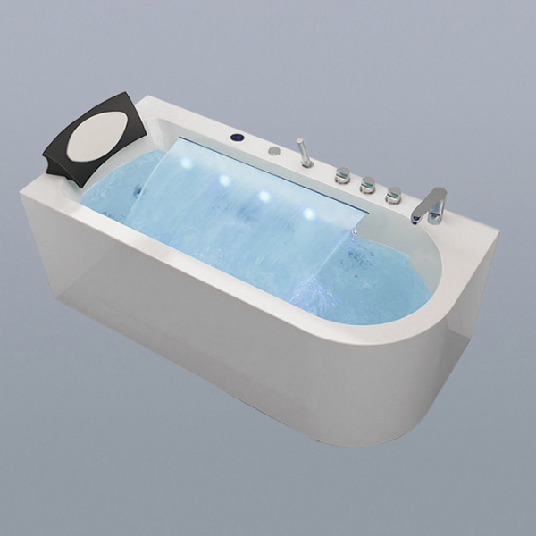 White Acrylic Massage Bathtub With Waterfall-LX-289