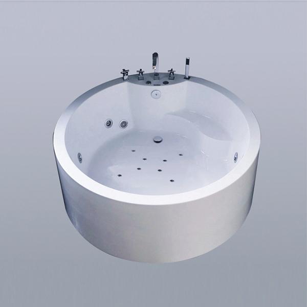 White Round Acrylic Massage Bathhtub-LX-292
