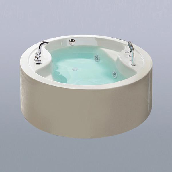 Beige Round Acrylic Massage Bathhtub-LX-293