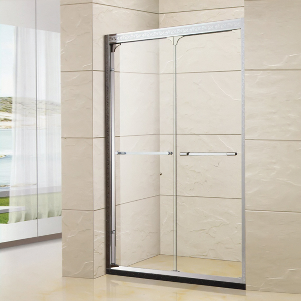 Patterned Framed Aluminum Alloy Shower Door-LX-3133