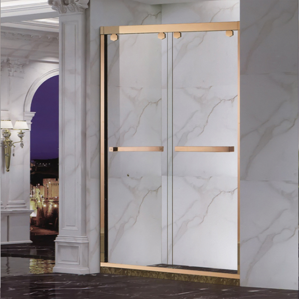 Golden Shower Door With Artifical Stone Base-LX-3137