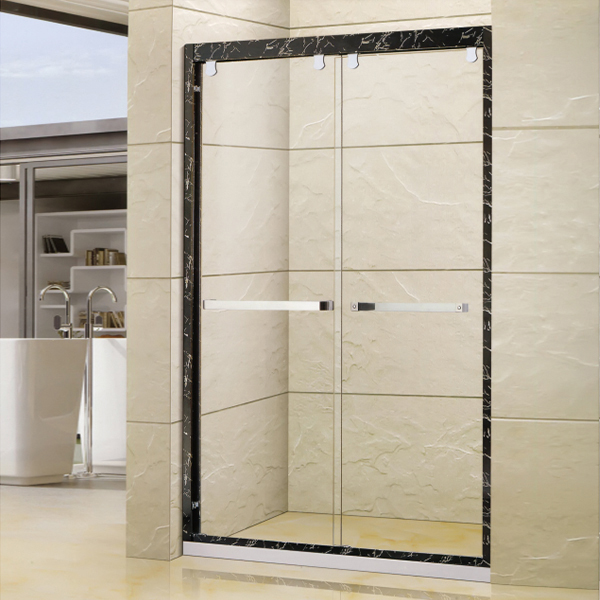 Patterned Aluminum Framed Shower Door-LX-3161