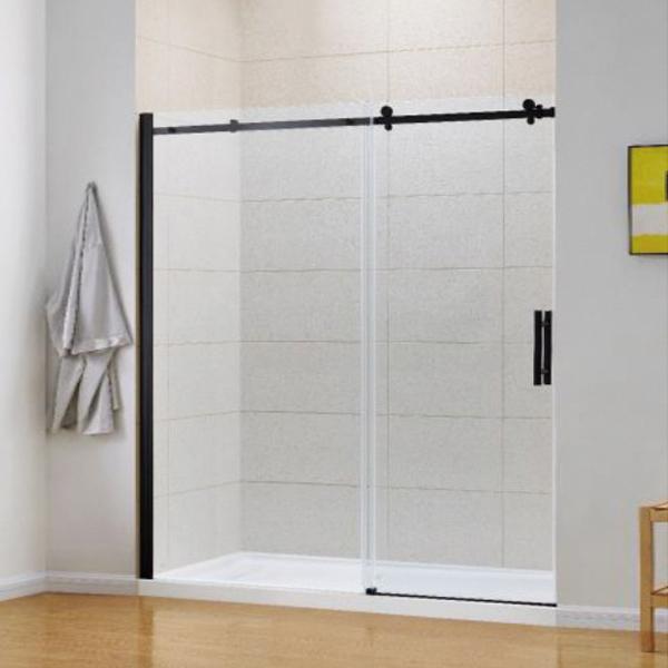 Black Frameless Sliding Shower Door-LX-3170