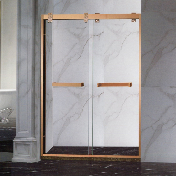 Stainless Steel Widened Gold Shower Screen-LX-3186