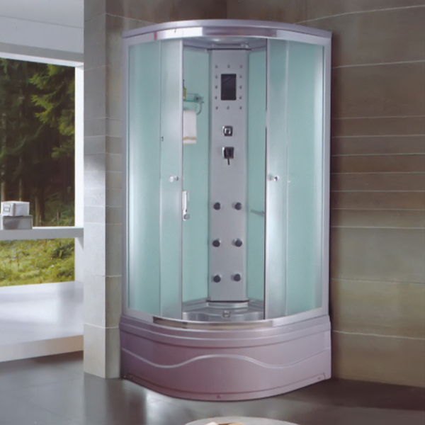 Grey ABS Material Fabric Glass Shower Room-LX-5040