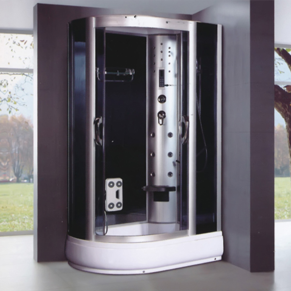 D shaped Tempered Glass Shower Cabin-LX-7020