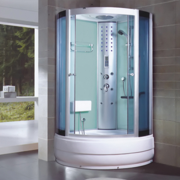 Transperant Tempered Glass Shower Cabin With Seat Cushion-LX-7038