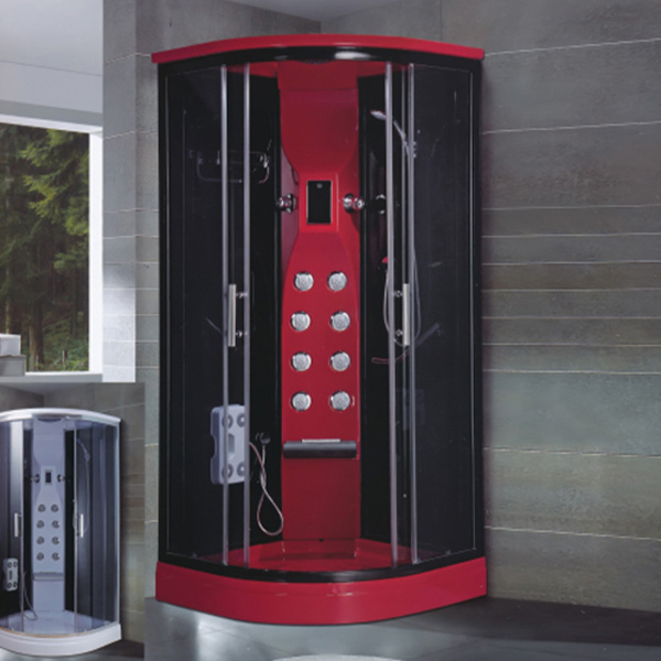Red Sector Shaped Shower Cabin With Massage Function-LX-7052
