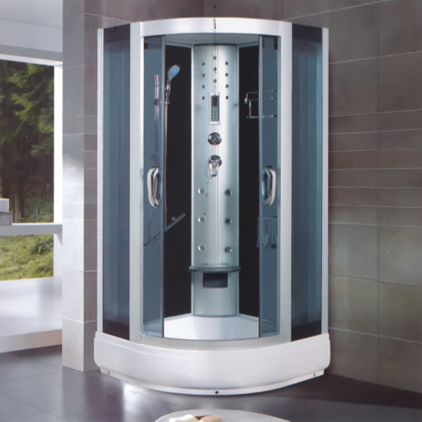 Transperant Tempered Glass Shower Cabin With Seat Cushion-LX-8038