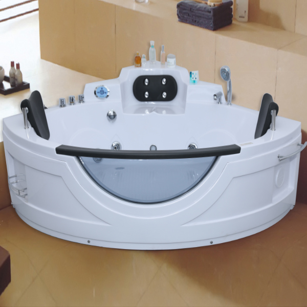 Sector Shaped Acrylic Massage Bathtub With Steps
