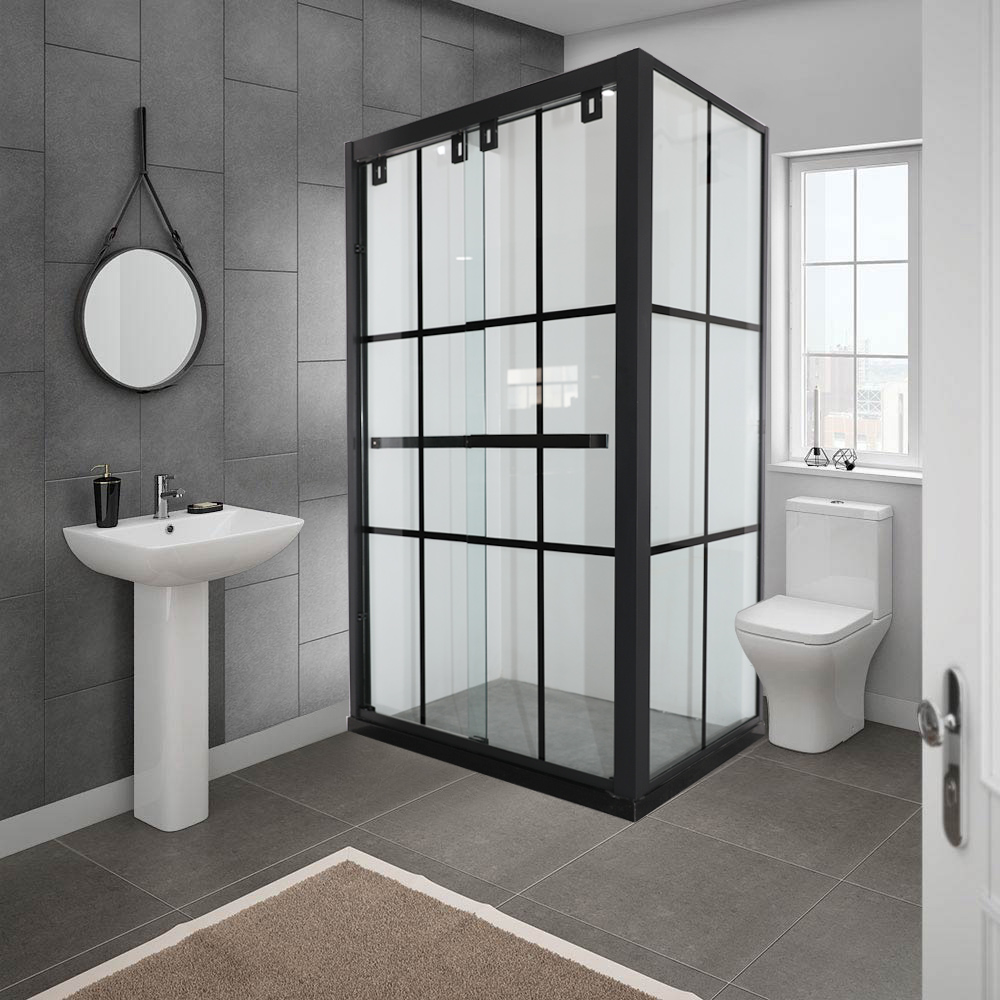 Black Tray And Frame Shower Enclosure